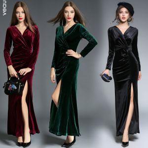Sexy Vert Foncé Robes longues 2018 Trompette / Sirène Daim Fendue devant V-Cou Manches Longues Longueur Cheville Vêtements Femme