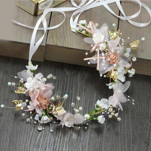Flower Fairy Blushing Pink Headbands Bridal Hair Accessories 2020 Alloy Lace-up Flower Pearl Headpieces Wedding Accessories