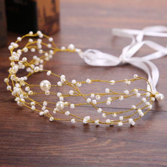 Elegante Goud Hoofdbanden Bruids Haaraccessoires 2020 Legering Lace-up Kralen Parel Haaraccessoires Huwelijk Accessoires