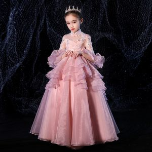Vintage / Retro Candy Pink See-through Flower Girl Dresses 2020 Princess High Neck 3/4 Sleeve Bell sleeves Appliques Lace Beading Floor-Length / Long Cascading Ruffles
