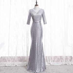 Sparkly Silver Evening Dresses  2020 Trumpet / Mermaid High Neck Rhinestone Sequins 3/4 Sleeve Backless Floor-Length / Long Formal Dresses