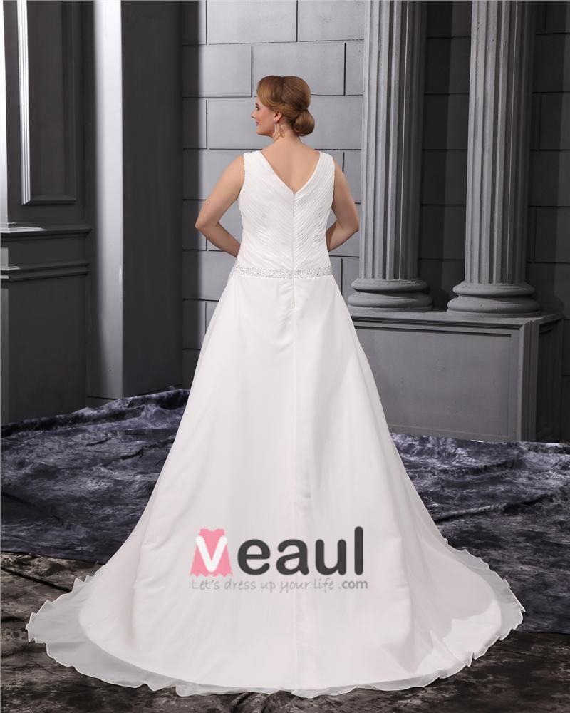 Chiffon Ruffle Beading V Neck Court Plus Size Bridal Gown Wedding Dresses