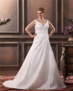 Satin Mit V-ausschnitt Applique Platz Große Größen Brautkleider