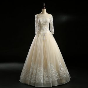Vintage / Retro Champagne Wedding Dresses 2018 A-Line / Princess See-through Scoop Neck Long Sleeve Backless Appliques Lace Pearl Beading Floor-Length / Long Ruffle