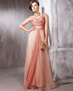 Beaded Ruffle Silk Charmeuse V Neck Floor Length Evening Dresses