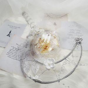 Lögonfallande Blomma Fe Vita Brudbukett 2020 Metall Kristall Fjäder Blomma Handgjort Brud Förlovnings Bröllop Tillbehör