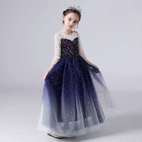 Starry Sky Navy Blue Birthday Flower Girl Dresses 2020 Ball Gown See-through Scoop Neck 3/4 Sleeve Star Sequins Floor-Length / Long Ruffle