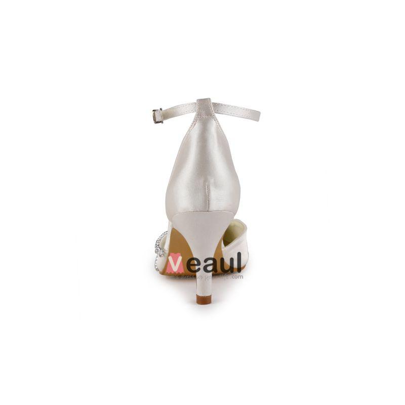 Luxe Bout Pointu Mi Talons Des Sandales En Satin Champagne