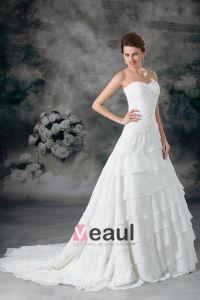 Schatz Überlagerte Chiffon- Fußbodenlänge Gerichts-zug A Linie Hochzeitskleid