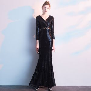 Charming Black Evening Dresses  2019 Trumpet / Mermaid V-Neck Sequins Sash 3/4 Sleeve Floor-Length / Long Formal Dresses