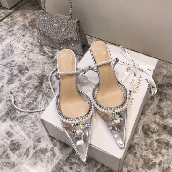 Sexy Silver Cocktail Party Rhinestone Womens Sandals 2020 Leather Pearl Ankle Strap 8 cm Stiletto Heels Pointed Toe Sandals
