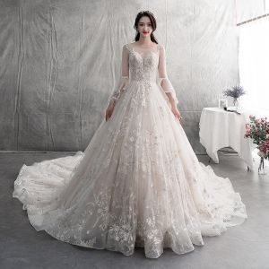 Modern / Fashion Champagne Wedding Dresses 2019 A-Line / Princess Scoop Neck Lace Flower Appliques Butterfly Long Sleeve Backless Royal Train