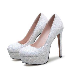 Sparkly White Prom Pumps 2017 Sequins PU Platform Round Toe High Heel Pumps