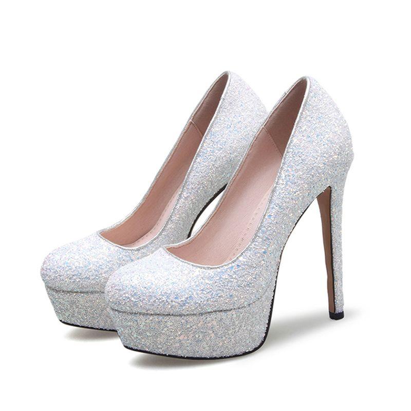 67ada0eeaa9 Sparkly White Prom Pumps 2017 Sequins PU Platform Round Toe High ...