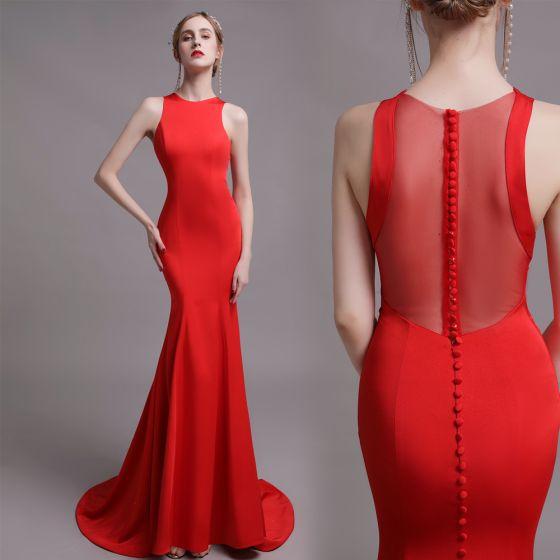 Schlicht Rot Abendkleider 2019 Meerjungfrau Rundhalsausschnitt Ärmellos Sweep / Pinsel Zug Festliche Kleider