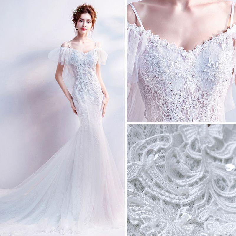 Affordable White Wedding Dresses 2018 Trumpet / Mermaid Off-The-Shoulder Spaghetti Straps Short Sleeve Backless Appliques Lace Beading Sequins Chapel Train Ruffle