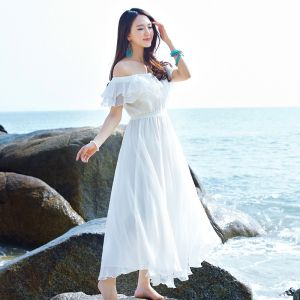 Chic / Beautiful Summer Beach White Chiffon Maxi Dresses 2018 A-Line / Princess Off-The-Shoulder Short Sleeve Tea-length Backless Womens Clothing