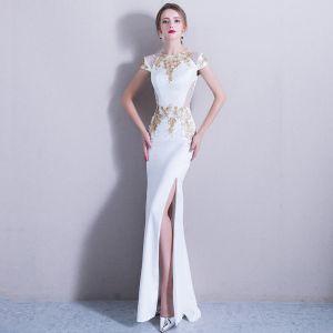 Elegante 2017 Weiß Abendkleider U-Ausschnitt Applikationen Handgefertigt Mermaid Abend Festliche Kleider