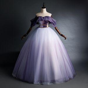 Elegant Purple Quinceañera Prom Dresses 2020 Ball Gown Off-The-Shoulder Glitter Beading Short Sleeve Backless Floor-Length / Long Formal Dresses