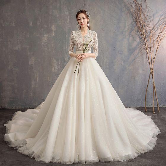estilo chino marfil vestidos de novia 2019 a-line / princess v