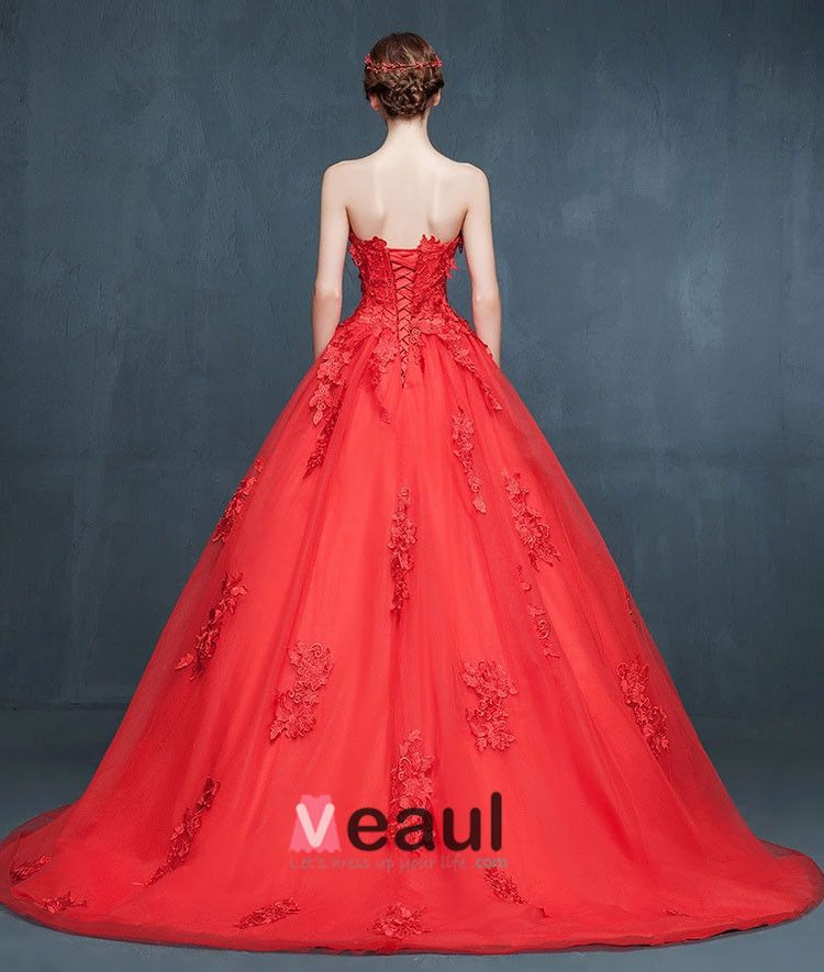 2015 Winter Red Bridal Small-trailing Wedding Dress