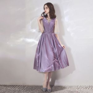 Bling Bling Lavender Homecoming Graduation Dresses 2019 A-Line / Princess Scoop Neck Bell sleeves Rhinestone Glitter Polyester Tea-length Ruffle Backless Formal Dresses