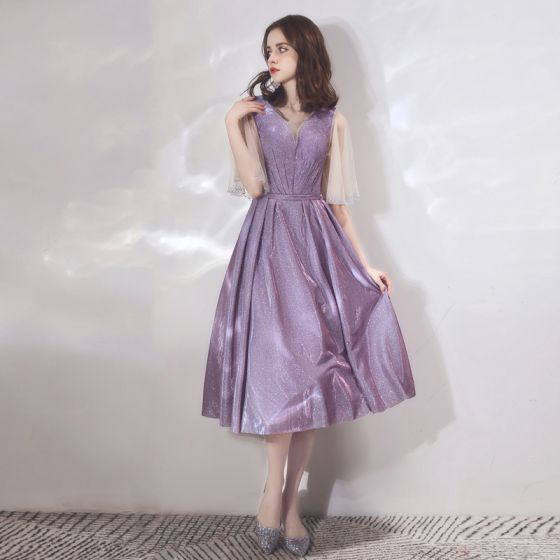 Bling Bling Lavender Homecoming Graduation Dresses 2019 A-Line / Princess Scoop Neck Bell sleeves Rhinestone Glitter Polyester Tea-length Ruffle Backless Formal Dresses