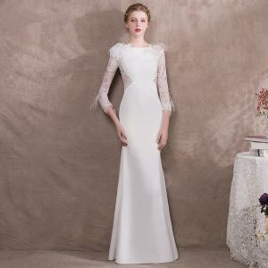 Modern / Fashion Ivory Evening Dresses  2018 Trumpet / Mermaid Lace Feather Long Sleeve Scoop Neck Floor-Length / Long Formal Dresses