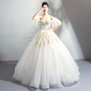 Luxury / Gorgeous Floor-Length / Long White Wedding 2018 Lace-up Tulle Strapless Appliques Backless Beading Ball Gown Wedding Dresses