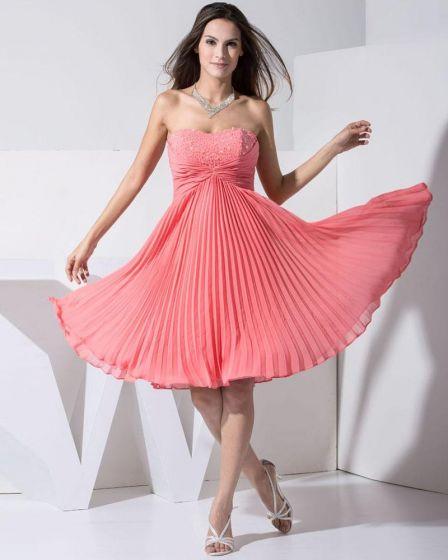 Stilvollen Chiffon- Silk Elastische Seide Wie Satin-schatz Sleeveless rückenfrei Knielange FaltenCocktail Partykleid
