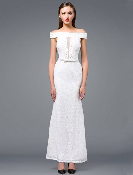 Fashion White Evening Dress 2016 Mermaid Off The Shoulder Beading White Lace Long Dress With Sash