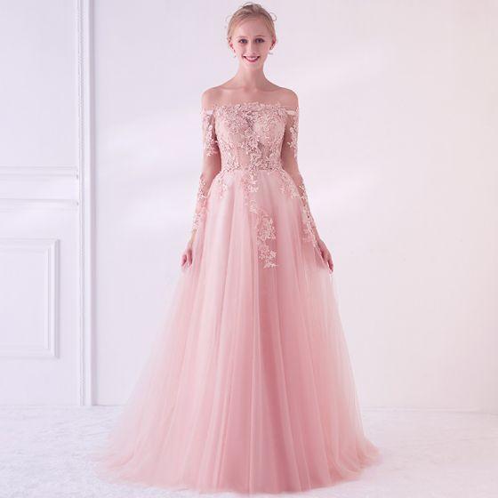Eleganckie Różowy Perłowy Przezroczyste Sukienki Na Bal 2018 Princessa Przy Ramieniu Długie Rękawy Aplikacje Z Koronki Perła Trenem Sweep Wzburzyć Bez Pleców Sukienki Wizytowe