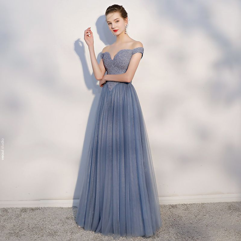 Chic / Beautiful Ocean Blue Prom Dresses 2018 A-Line / Princess Backless Beading Crystal Off-The-Shoulder Sleeveless Floor-Length / Long Formal Dresses