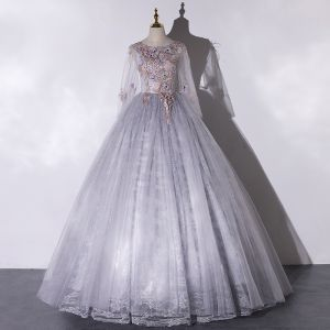 Elegant Grey Dancing Prom Dresses 2020 Ball Gown Scoop Neck Long Sleeve Backless Appliques Lace Rhinestone Feather Floor-Length / Long Ruffle Formal Dresses