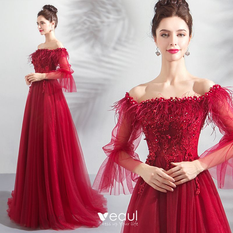 Glamorous Burgundy Evening Dresses 2019 A-Line / Princess