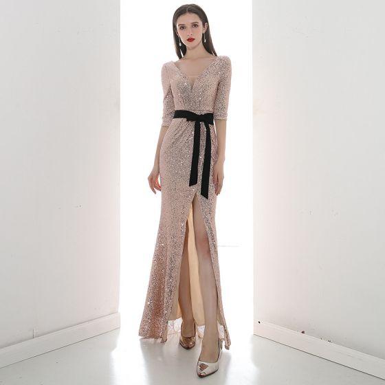 Erschwinglich Rose Gold Pailletten Abendkleider 2020 Meerjungfrau V-Ausschnitt 1/2 Ärmel Stoffgürtel Gespaltete Front Lange Rückenfreies Festliche Kleider
