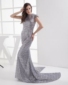 Fashion Sequin Lace Imitation Silk Jewel Floor Length Celebrity Dress