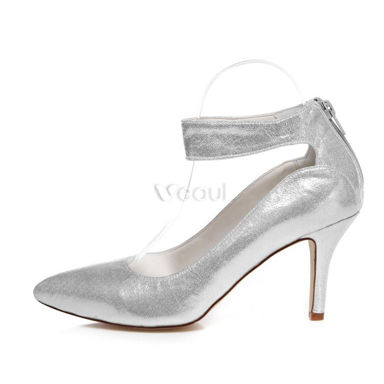 sparkly silver bridal shoes stiletto heels wedding shoes