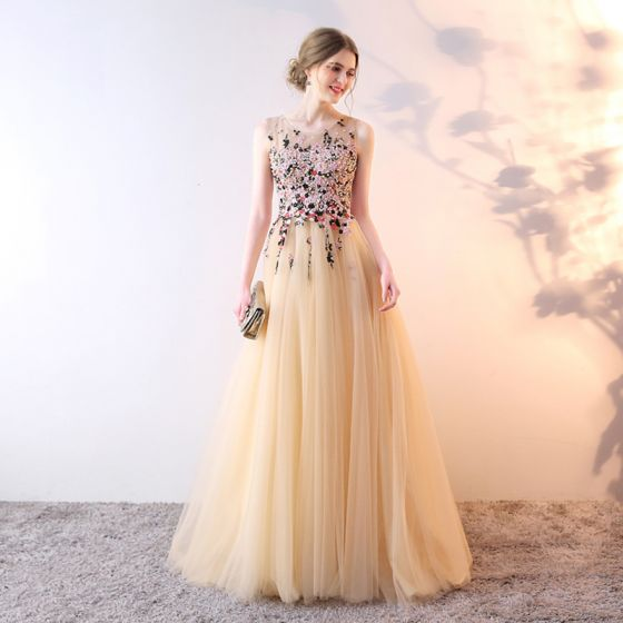 Chic / Beautiful Prom Dresses 2017 A-Line / Princess Lace Flower Beading Pearl Sequins Sleeveless Sweep Train Formal Dresses