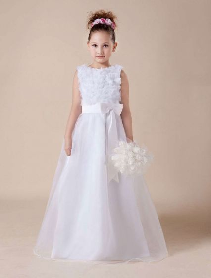 Cute White Soft Tulle Flower Girl Dress
