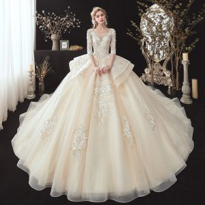 Romantic Champagne See-through Bridal Wedding Dresses 2020 Ball Gown Scoop Neck 3/4 Sleeve Backless Flower Appliques Lace Beading Glitter Tulle Cathedral Train Ruffle