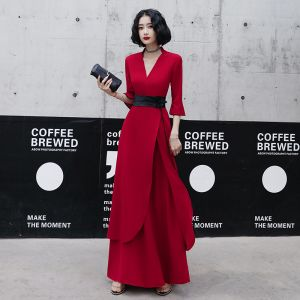 Chic / Beautiful Red Casual Evening Dresses  2020 A-Line / Princess V-Neck Bell sleeves Sash Floor-Length / Long Ruffle Formal Dresses