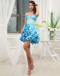 Silk Like Satin Silk Ruffle Beading Halter Mini Cocktail Dress