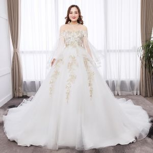 Chic / Beautiful White Ball Gown Plus Size Wedding Dresses 2019 Tulle Long Sleeve Appliques Backless Embroidered Sequins Strapless Chapel Train Wedding