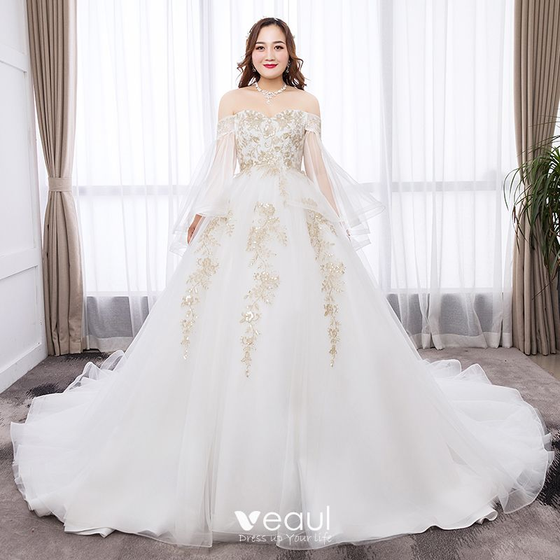 Chic / Beautiful White Ball Gown Plus Size Wedding Dresses 2019 Tulle Long  Sleeve Appliques Backless Embroidered Sequins Strapless Chapel Train ...