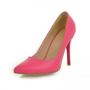Faux Cuir Bout Pointu Chaussures Talons De Demoiselle D'honneur