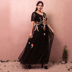 Flower Fairy Black Plus Size Evening Dresses  2018 A-Line / Princess V-Neck Tulle Backless Appliques Embroidered Evening Party Prom Dresses