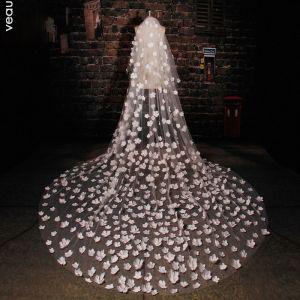 175 Cm Lang Tailing Handgefertigten Blumen Spitzenschleier Weichen Brautschleier