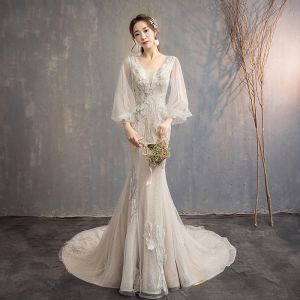 Bling Bling Champagne Wedding Dresses 2019 Trumpet / Mermaid V-Neck Puffy Long Sleeve Backless Appliques Lace Glitter Tulle Chapel Train Ruffle