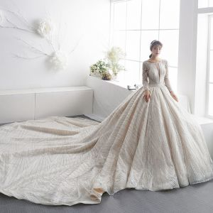 Luxury / Gorgeous Champagne See-through Wedding Dresses 2019 A-Line / Princess Square Neckline Long Sleeve Beading Glitter Tulle Cathedral Train Ruffle